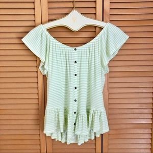 Maurices green white off the shoulder striped top